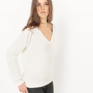 Пуловер с блестящим эффектом V-образным вырезом из хлопка La Redoute Collections. Цвет: белый,кирпичный,темно-синий