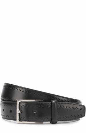 Кожаный ремень с перфорацией и металлической пряжкой Canali. Цвет: черный