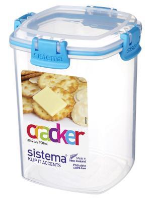 Контейнер для крекеров 900мл Sistema. Цвет: синий