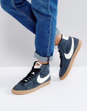 Nike Черные замшевые кроссовки средней высоты Blazer. Цвет: черный