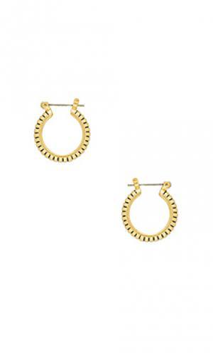 Серьги-кольца baby snake chain Luv AJ. Цвет: металлический золотой