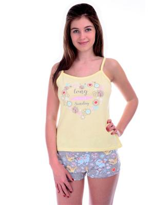 Пижамы Малина. Цвет: светло-серый, светло-желтый