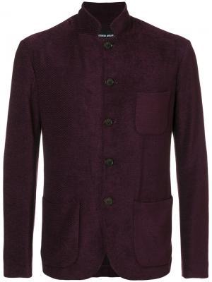 Пиджак с воротником-стойкой Giorgio Armani. Цвет: розовый и фиолетовый