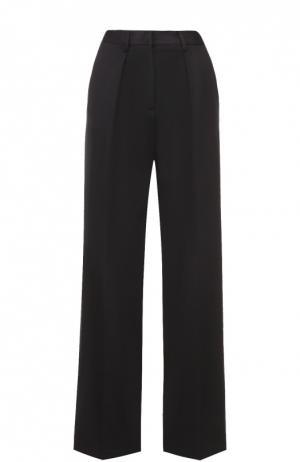 Широкие брюки прямого кроя с защипами MSGM. Цвет: черный