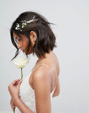 LoveRocks London Гребень для волос с искусственным жемчугом. Цвет: золотой