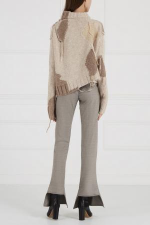Расклешенные брюки из шерсти Acne Studios. Цвет: серый