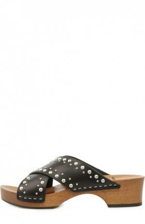 Кожаные сабо Sabot с заклепками Saint Laurent. Цвет: черный