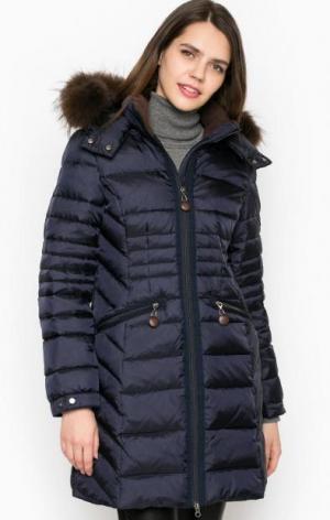 Удлиненный зимний пуховик с меховой отделкой Cinque. Цвет: синий