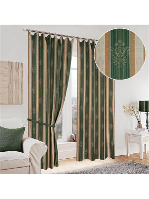 Шторы Бургундия Олимп Текстиль. Цвет: зеленый, темно-коричневый