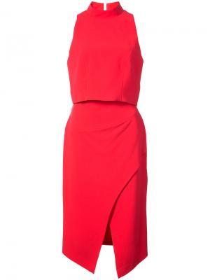 Платье-миди с прорезью на талии Black Halo. Цвет: красный