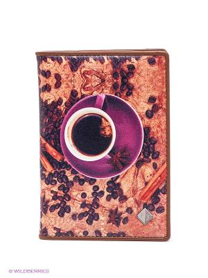 Обложка для паспорта Flioraj. Цвет: терракотовый, фиолетовый