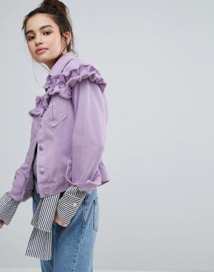 H! by Henry Holland Джинсовая куртка с рюшами. Цвет: фиолетовый