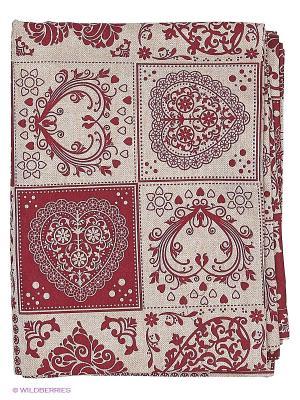 Скатерть  Amore 120х180 см T&I. Цвет: светло-серый, бордовый