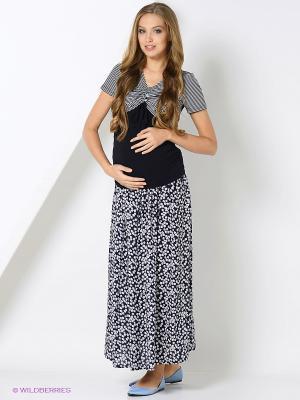 Блузка для беременных и кормления 40 недель. Цвет: темно-синий