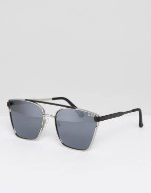 Quay Australia Солнцезащитные очки-авиаторы Cassius. Цвет: серебряный