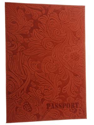 Обложка на паспорт, кожа, оранжевые листья Радужки. Цвет: оранжевый