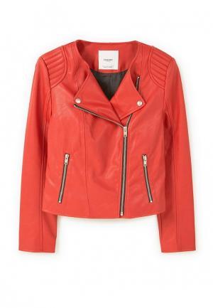 Куртка кожаная Mango. Цвет: красный