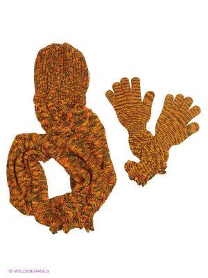 Шапка;  перчатки Krife. Цвет: рыжий