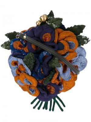 Сумка с декором из объемных цветов пайеток Jamin Puech. Цвет: синий