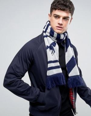 Abuze London Вязаный шарф с шевронным узором. Цвет: серый