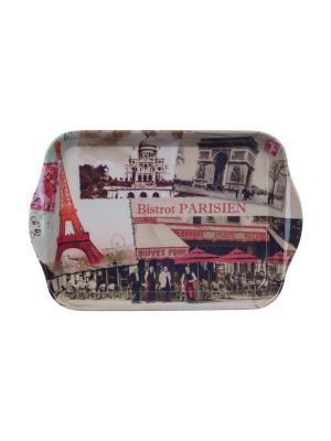 Поднос кухонный 21 х 14 см,  Парижское бистро Orval. Цвет: черный, бежевый, красный