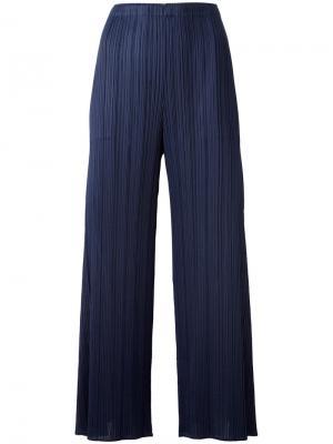 Укороченные плиссированные брюки Pleats Please By Issey Miyake. Цвет: синий