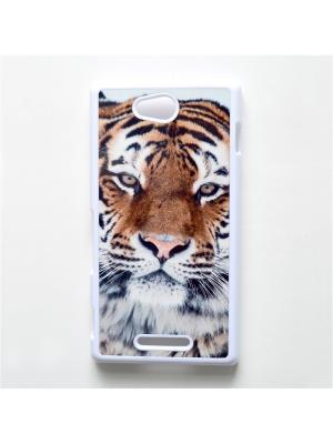 Чехол для Sony Xperia C Тигр Boom Case. Цвет: черный, белый, персиковый