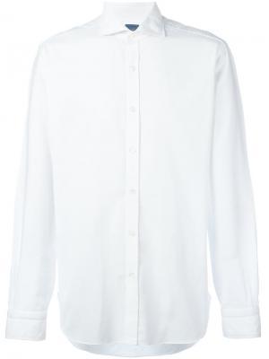 Рубашка с воротником Barba. Цвет: белый