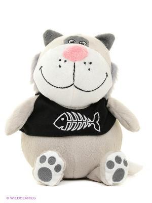 Котик С Рыбой 20 См. MAXITOYS. Цвет: серый, белый, черный