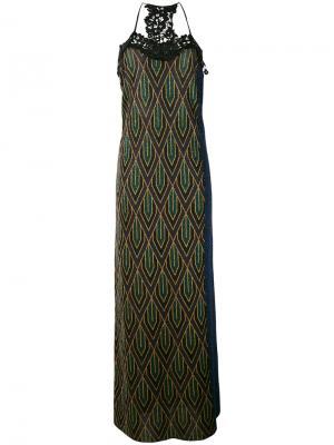 Платье макси с кружевной отделкой Circus Hotel. Цвет: синий