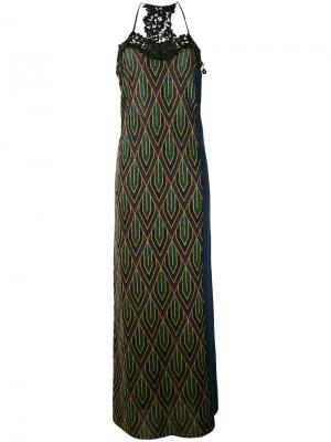 Lace trim knitted maxi dress Circus Hotel. Цвет: синий