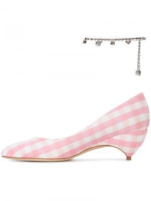 Туфли-лодочки в клетку гингем с украшением на щиколотку X Avigail Liudmila. Цвет: розовый и фиолетовый