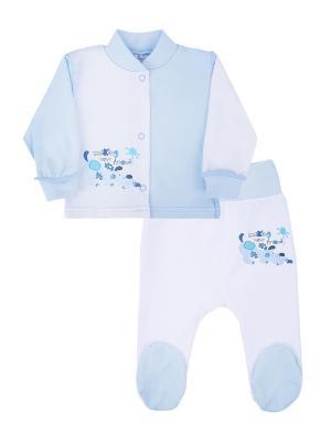 Комплект одежды: кофточка, ползунки Коллекция Новые друзья КОТМАРКОТ. Цвет: голубой, белый