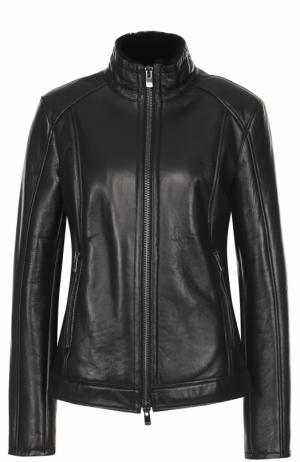 Кожаная куртка с внутренней отделкой из меха DROMe. Цвет: черный