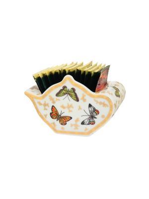 Подставка для чайных пакетиков Бабочки Elan Gallery. Цвет: белый, золотистый