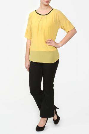 Комплект: блузка, топ LOTTA. Цвет: горчичный