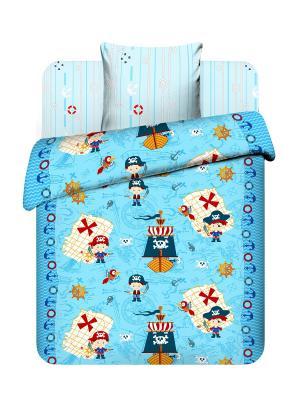 Комплект постельного белья для детей из бязи 1,5 спальный Василек. Цвет: голубой