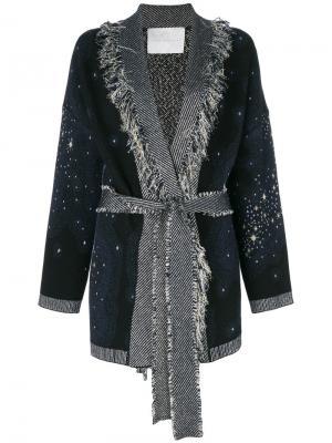 Пальто-кардиган с поясом Giada Benincasa. Цвет: синий