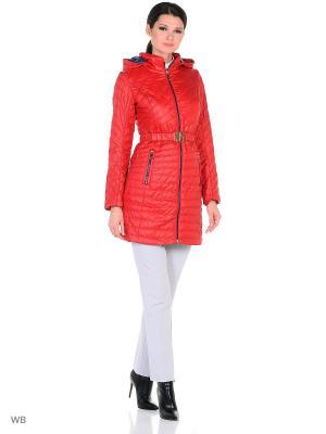 Пальто MOHNASS. Цвет: красный