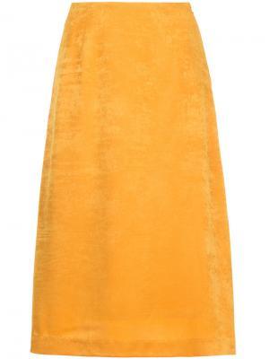 Бархатная юбка миди Cityshop. Цвет: жёлтый и оранжевый