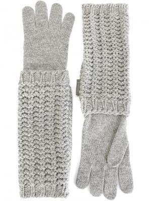 Длинные вязаные перчатки Moncler. Цвет: серый