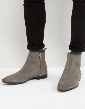 ASOS Серые замшевые ботинки челси на молниях. Цвет: серый