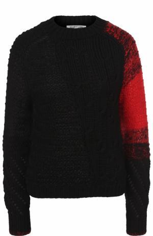 Шерстяной свитер фактурной вязки с круглым вырезом Helmut Lang. Цвет: черный