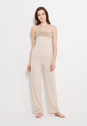 Комплект брюки и топ Luisa Moretti. Цвет: бежевый