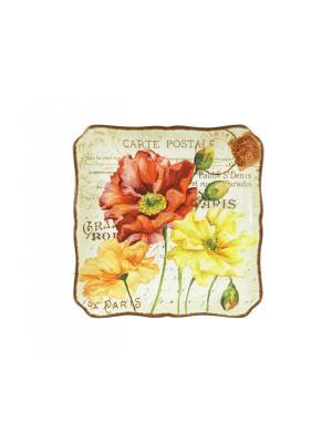 Блюдо квадратное 32 см с ручками Парижские маки Certified International. Цвет: темно-красный, бежевый, малиновый