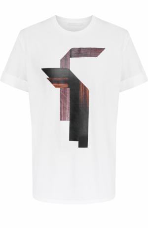 Хлопковая футболка свободного кроя с принтом Neil Barrett. Цвет: белый