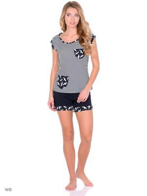 Костюм-футболка, шорты NAGOTEX. Цвет: белый, синий