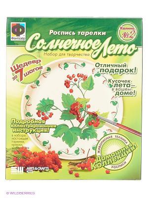 Расписная тарелка, №2 Калина Фантазер. Цвет: зеленый, красный