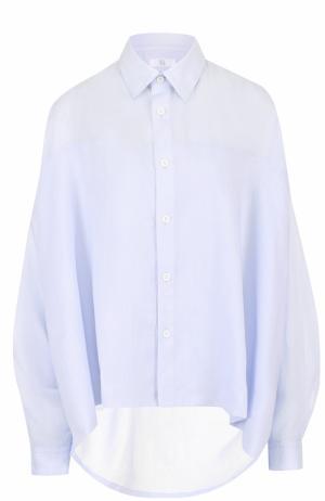 Льняная блуза с удлиненной спинкой Yohji Yamamoto. Цвет: синий