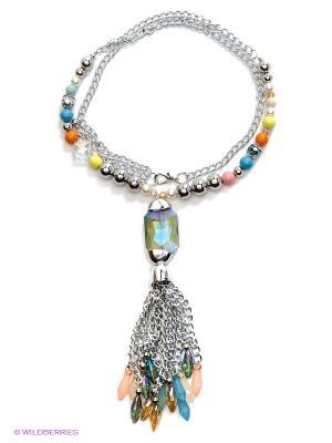 Колье Bijoux Land. Цвет: серебристый, бежевый, голубой